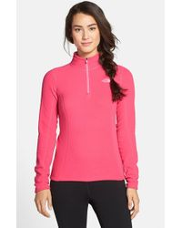 The North Face - Pink 'glacier' Quarter Zip Pullover - Lyst