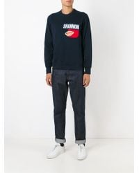 Christopher Shannon - Blue Printed Sweatshirt for Men - Lyst