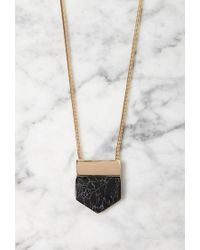 Forever 21 - Metallic Angular Faux Marble Pendant Necklace - Lyst