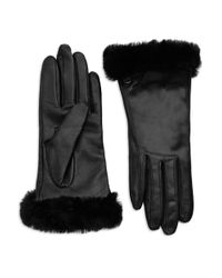 UGG | Black Classic Fur-Trim Suede/Leather Smart Gloves | Lyst