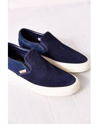 Vans | Blue Classic Knit Suede Slip-on Women's Sneaker | Lyst