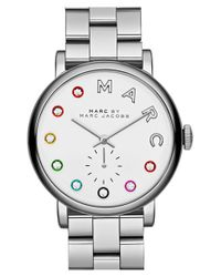 Marc Jacobs - Metallic 'baker' Crystal Index Bracelet Watch - Lyst