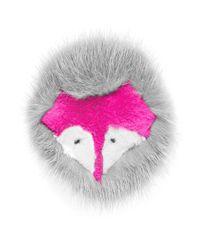 Yves Salomon   Pink Fox Face Fur Pin Badge   Lyst