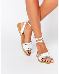 ASOS - White Flabogast Suede Tie Leg Sandals - Lyst