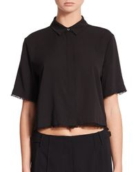 T By Alexander Wang - Black Cropped Silk-stretch Blouse - Lyst