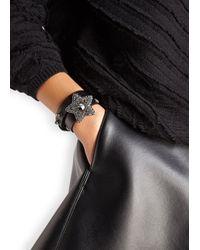 Lanvin | Elsie Black Embellished Leather Wrap Bracelet | Lyst