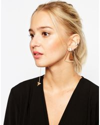 ASOS | Natural Mismatch Swing Earrings With Long Arrow Drop | Lyst