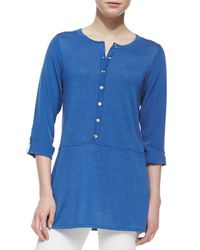 Belford - Blue Silk-cotton Tab-sleeve Tunic - Lyst