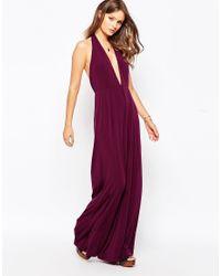 Glamorous   Purple Halter Neck Jumpsuit With Wide Leg   Lyst