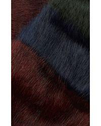 Karen Millen - Red Striped Faux-fur Scarf - Lyst