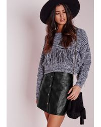 Missguided - Button Faux Leather Mini Skirt Black - Lyst