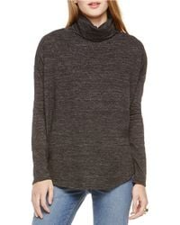 Two By Vince Camuto | Black Relaxed Slub Knit Turtleneck Top | Lyst