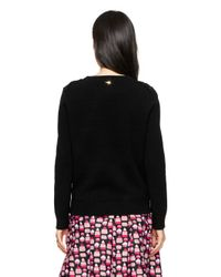 Kate Spade | Black Textured Front Sweater | Lyst