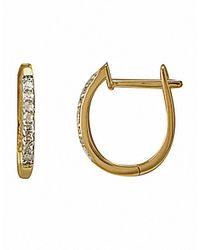 Lord & Taylor | 14k Yellow Gold Hoop Earrings With Diamond Accents | Lyst