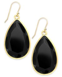 kate spade new york | Gold-Tone Black Teardrop Earrings | Lyst