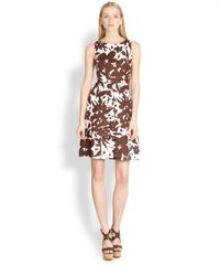 Michael Kors | Brown Floral Linen Dress | Lyst