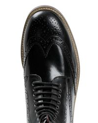 TOPMAN - Black Leather Brogue Boots for Men - Lyst
