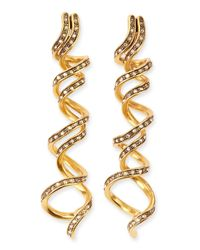 Oscar de la Renta - Metallic Pave Crystal Spiral Earrings - Lyst