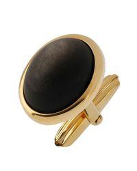 Lanvin - Black Obsidian Stone Cufflinks for Men - Lyst