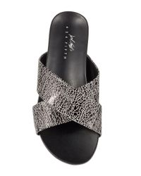 424 Fifth - Black Chelsey Leather Slide Sandals - Lyst
