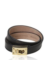 Fendi - Black Logo Plaque Leather Two Row Bracelet - Lyst