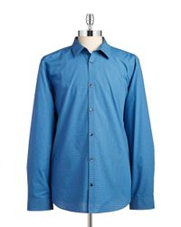 Calvin Klein | Blue Non-iron Checked Sportshirt for Men | Lyst