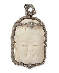 Armenta - Natural Bone Buddha Enhancer With Champagne Diamonds - Lyst