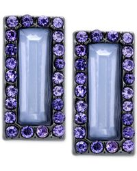 T Tahari | Blue Rectangle Stone And Crystal Stud Earrings | Lyst