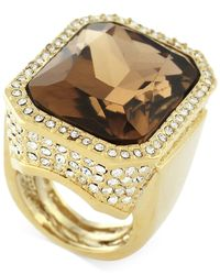 Vince Camuto | Metallic Gold-plated Champagne Stone And Crystal Ring | Lyst
