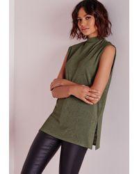 Missguided | Natural High Neck Longline Vest Khaki | Lyst