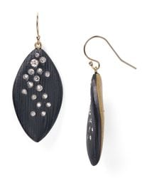 Alexis Bittar | Black Lucite Crystal Dusted Leaflet Earrings | Lyst