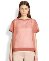 Brunello Cucinelli | Red Sheer Boxstitch Blouse | Lyst
