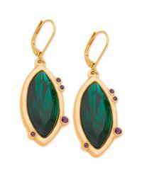 T Tahari - 14k Goldplated Green Stone Navette Drop Earrings - Lyst