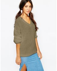 Daisy Street | Natural V Neck Fisherman Knit Jumper | Lyst