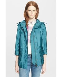 Burberry Brit - Blue 'maidleigh' Hooded Roll Sleeve Jacket - Lyst