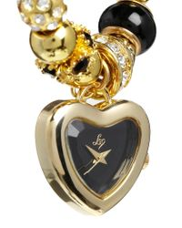 Lipsy - Metallic Gold and Black Charm Bracelet Watch with Black Heart Dial - Lyst