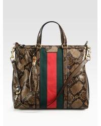 Gucci   Brown Rania Python Top-Handle Bag   Lyst