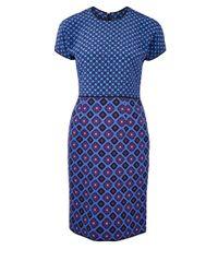 Victoria, Victoria Beckham - Blue Check Print Silk Dress - Lyst