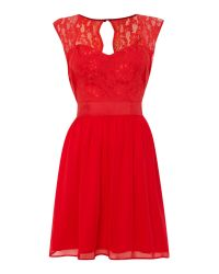 Elise Ryan | Red Sleeveless Sweetheart Neck Fit And Flare Dress | Lyst