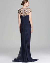 Tadashi Shoji   Blue Gown Short Sleeve Jeweled Neckline   Lyst