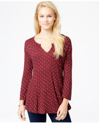 Lucky Brand | Red Lucky Brand Ditsy Daisy Top | Lyst