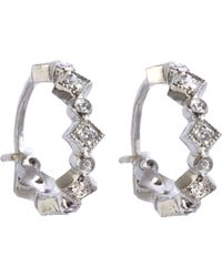 Cathy Waterman - White Petite Geometric Hoops - Lyst