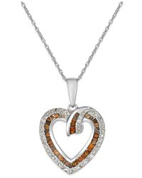Macy's | White And Red Diamond Heart Pendant Necklace (3/8 Ct. T.w.) In 10k White Gold | Lyst