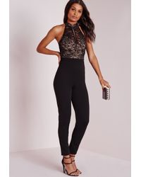 Missguided | Lace Sleeve High Neck Jumpsuit Black | Lyst