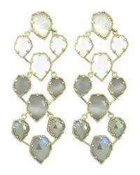 Kendra Scott - White Clara Earrings In Golden Ice - Lyst