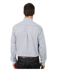 Stetson | Blue Squares & Diamonds Print On Poplin for Men | Lyst