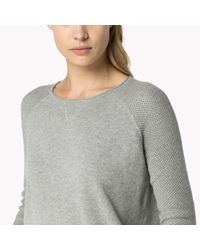 Tommy Hilfiger - Gray Wool Cotton Blend Crew Neck Sweater - Lyst