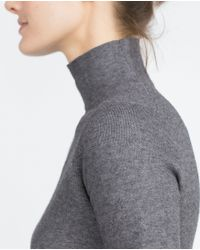 Zara | Gray Funnel Collar Top | Lyst