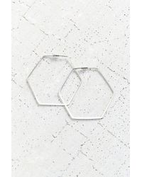 Urban Outfitters | Metallic 18k + Sterling Silver Delicate Hexagon Hoop Earring | Lyst