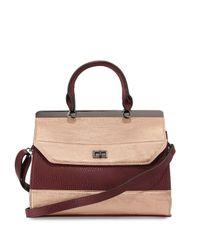 Neiman Marcus - Multicolor Elisa Colorblock Faux-leather Satchel Bag - Lyst